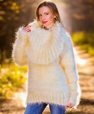 SUPERTANYA IVORY Hand Knitted Mohair Sweater Fuzzy Cowlneck Fluffy Jumper by S M