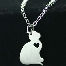 1Pc Cute Cat Necklace Hollow-out Heart Pendant Stainless Steel Silver Necklace