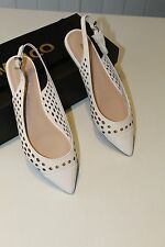 "Mimco ""The Muse Ballet"" White Slingback Leather Flats Size 37"