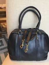 Vintage Coach Navy Legacy Leather Doctor Handle Satchel Shoulder Bag Purse USA