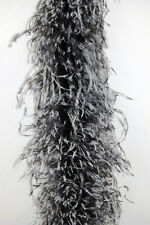 "OSTRICH Chinchilla FEATHER BOA 4 Ply - BLACK/WHITE 72"" Costumes/Hats/Craft/Trim"