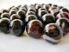 NEW 10 DRACULA 14mm BLACK RED GLASS MARBLES TRADITIONAL COLLECTORS ITEMS