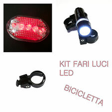 Kit fari per bici 5 diodi LED (n.6 batterie AAA comprese) - Set Cycling Lights