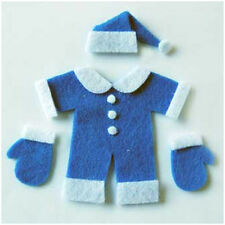 2 x DIE CUT FELT BLUE BABY SANTA SUIT SET EMBELLISHMENTS - CARD MAKING 7CM X 7CM