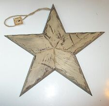 Large Distressed Tan Country Primitive Wood Star 15.5 x 14.5 Inches