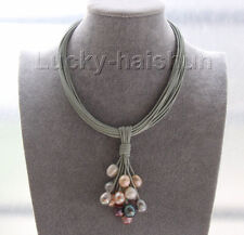 """16"""" 14mm white gray black pink pearls gray leather necklace magnet clasp j9569"""