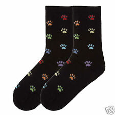 K.Bell Bright Colorful Paw Prints Ladies Crew Black Cotton Blend Socks New