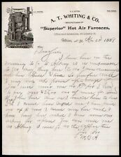 1888 Utica NY - A T Whiting Co - Superior Hot Air Furnaces - Vintage Letter Head