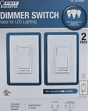 2x FEIT ELECTRIC Dimmer Switch Ideal LED Lighting  PLUS Wall Plates 3-way