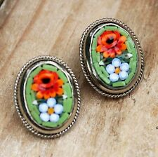 Vintage Micro Mosaic Earrings Clip-On Costume Jewellery Micromosaic Green