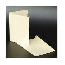 C5 IVORY SCALLOPED BLANK CARDS 270gsm & ENVELOPES 25 PACK CARD MAKING CRAFT 1008