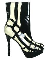 NEW TOO FAST LADIES X-RAY SKELETON BONE HEEL ANKLE BOOTS BLACK & WHITE (R28A/B)