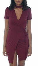 Ladies Choker Neck Tie Front Wrap Over Midi Dress Bodycon Plunge Short Sleeve
