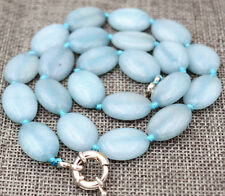 """Hot New 13x18mm natural aquamarine Flat Oval Gemstone Beads Necklace 18 """"AAA"""