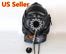 LEATHER Padded Locking Full Hood Mask O Ring Mouth Costume Play Mask MUZZEL