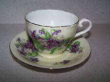 AYNSLEY ENGLISH BONE CHINA FOOTED CUP AND SAUCER YELLOW BACKGROUND WITH VIOLETS