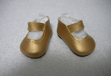 "Fits 16"" Sasha Gregor Doll - Gold Mary Janes - Shoes - D1378"