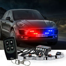 1 Kit  LED Red Blue Auto Car Strobe Emergency Warning Light Bars Deck Dash Grill