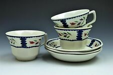 Adams English Ironstone Lancaster White Blue Cup and Saucer  - Set of 3