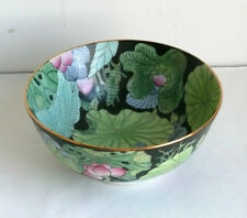 Vintage Chinese Porcelain Hand Painted Bowl Water Lilies on Black