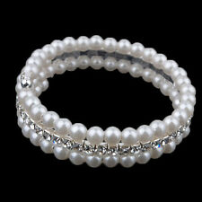 Unique Women's  2 Rows White Faux Pearls Rhinestone Stretch Bangle Bracelet