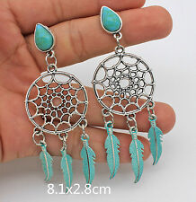3.2'' Hollow Circle Feather Bohemia Type Waterdrop Turquoise Resin Lady Earrings
