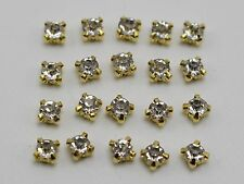 250 Golden Clear Crystal Glass Rose Montees 4mm SS16 Sew on Rhinestones Beads