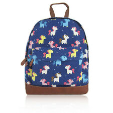 Cute Little Pink Blue Grey Colourful Unicorn Canvas School Backpack Rucksack Bag