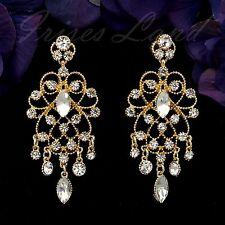 18K Gold Plated GP Clear Crystal Rhinestone Chandelier Drop Dangle Earrings 9936