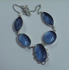 "CARVED CHALCEDONY SIMPLY LOVEY 20"" SOLID 925 SILVER NECKLACE GORGEOUS"
