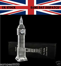 Big Ben Crystal Glass Clock 3D Laser Multi Lights London Souvenir Ornament 23 CM