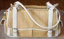 CUTE CRAZY HORSE LIZ CLAIBORNE SATCHEL BAG HANDBAG POCKETBOOK PURSE~TAN/WHITE~EC