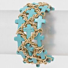 Blue Cross Gold Bead Cuff Chain Turquoise Stretch Chunky Link Costume Bracelet