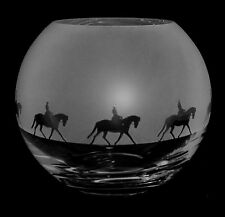 *HORSE GIFT*  15cm Boxed CRYSTAL GLASS GLOBE VASE with LADY DRESSAGE FRIEZE