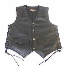 HARLEY DAVIDSON LEATHER VEST ** MADE IN USA ** MENS LARGE LG  GREAT STYLE     64