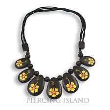 Halskette frei längenverstellbar Holz Hibiscus Blüten Design N219