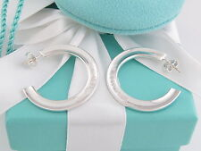 Authentic New Tiffany & Co Silver 1837 Hoop Earrings Box Pouch Ribbon Card