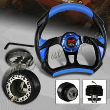 For 1996-2005 Honda Civic 320MM Black/Blue PVC Leather Steering Wheel + Adapter