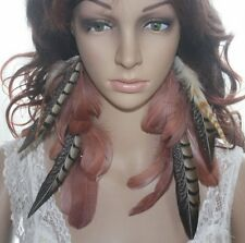 19B3-4 Chain Natural Feather Earrings Jewelry 1 Pair Lhf140730