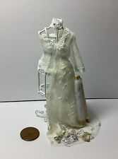 1:12  Dolls House miniature Handmade WEDDING DRESS PART MADE ON WHITE WIRE DUMMY