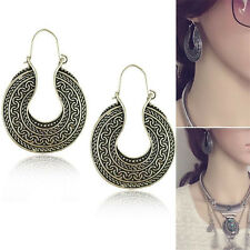 Women Fashion Vintage Retro Jewelry Antique Silver Hoop Circle Round Earrings