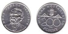 "HUNGRIA HUNGARY 200 FORINT 1994 PLATA ""DEAK FERENK""  UNC KM:707"