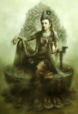 "Nice Oil painting Chinese Dunhuang fairy Kwan-yin Starting at Jade Pure  24""x36"""