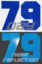 REFLECTIVE CUSTOM MX NUMBER PLATE DECALS MOTORCYCLE RACING MOTOCROSS STICKERS