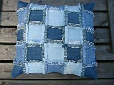"Handmade Recycled Square Jeans Denim Patchwork Pillow Cover 16.5""x17"""
