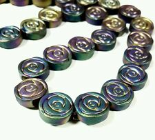 Hematite rose flower beads AB rainbow multicolour 10mm 1 strand approx 42 pcs
