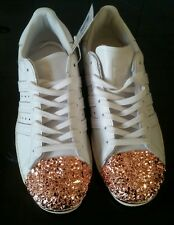 Ladies Adidas White Metallic Superstar 80's 3d Metal Toe Leather Trainers - 6 UK
