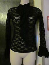 sheer black lacey long sleeve victorian high neck ruffle front fitted top -6-8