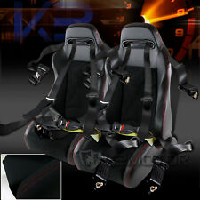 2X Racing Style Black PVC Leather Red Stitch Seats+4 Point Seat Belts Harness