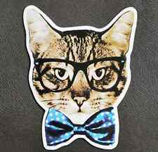 Funny Business Cat Bow Tie Sticker Decal Bike Car Vinyl Laptop Skateboard Guitar